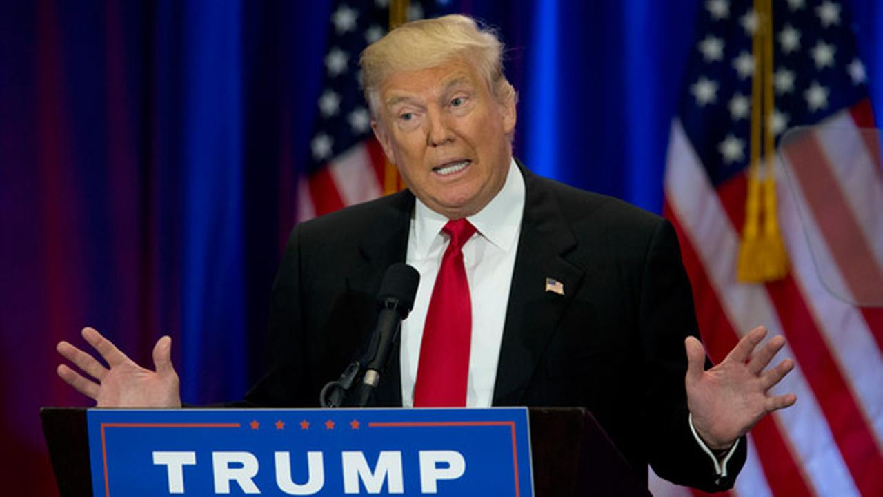 Republican presidential candidate Donald Trump speaks in New York, Wednesday, June 22, 2016.