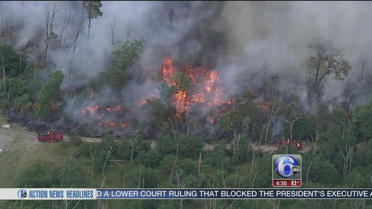 VIDEO: Burlington Co. fire mostly contained