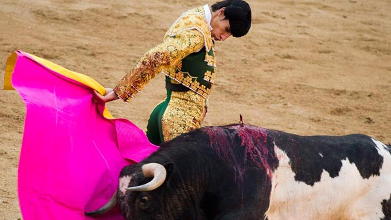 FILE - In this May 16, 2011 file photo, Spanish bullfighter Victor Barrio performs during a bullfight of the San Isidros fair at the Las Ventas Bullring in Madrid.
