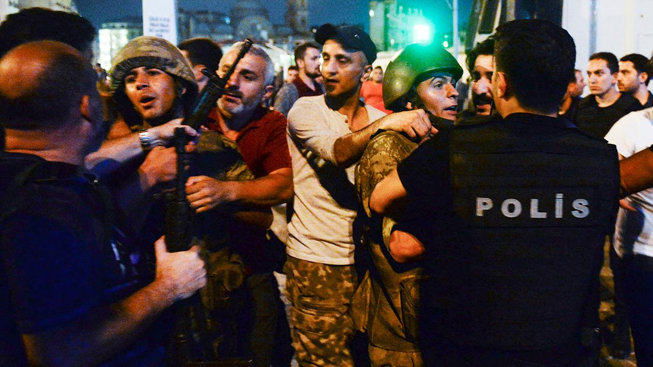 Turkish President Recep Tayyip Erdogan told the nation Saturday that his government was working to crush a coup attempt after a night of explosions, air battles and gunfire across