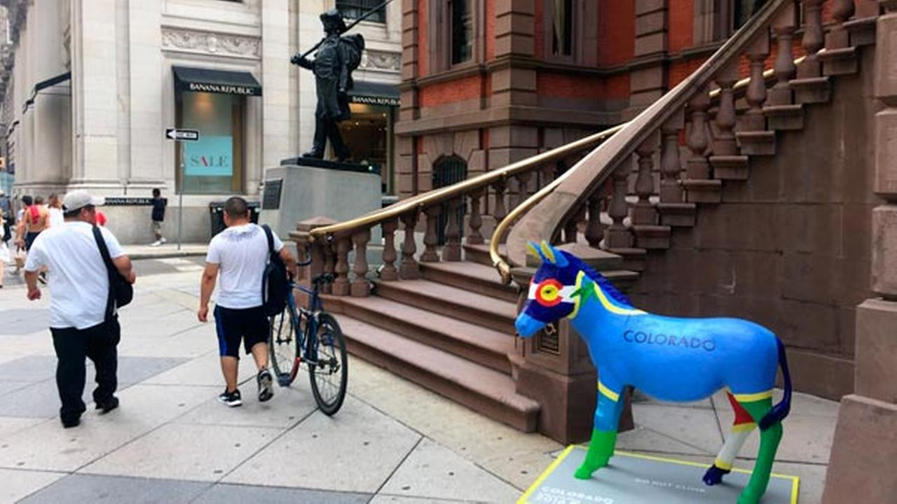 This July 7, 2016 photo shows a donkey outside the Union League in Philadelphia.
