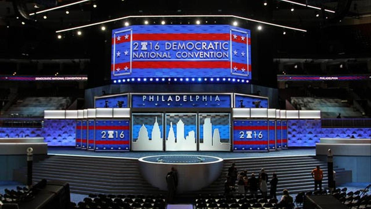 The stage stands ready for the start of the Democratic National Convention at the Wells Fargo Center, Friday, July 22, 2016 in Philadelphia.