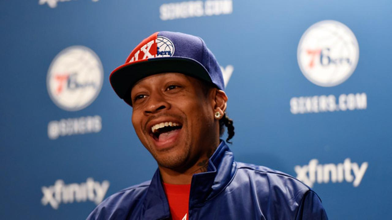 Philadelphia 76ers Allen Iverson talks to reporters during a news conference before an NBA basketball game against the New York Knicks, Friday, April 8, 2016, in Philadelphia.