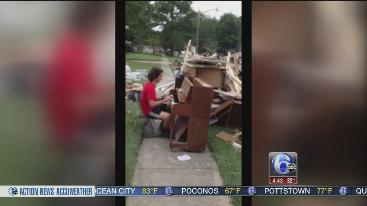 VIDEO: Teen plays beautiful music among flood debris in Louisiana