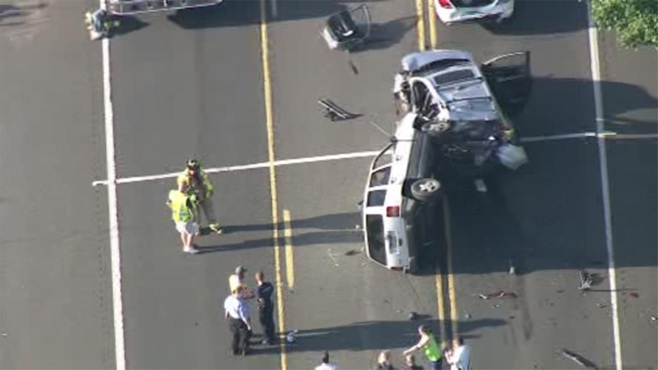 At least one person was hurt in a crash involving an overturned vehicle in Plumstead Township, Bucks County.