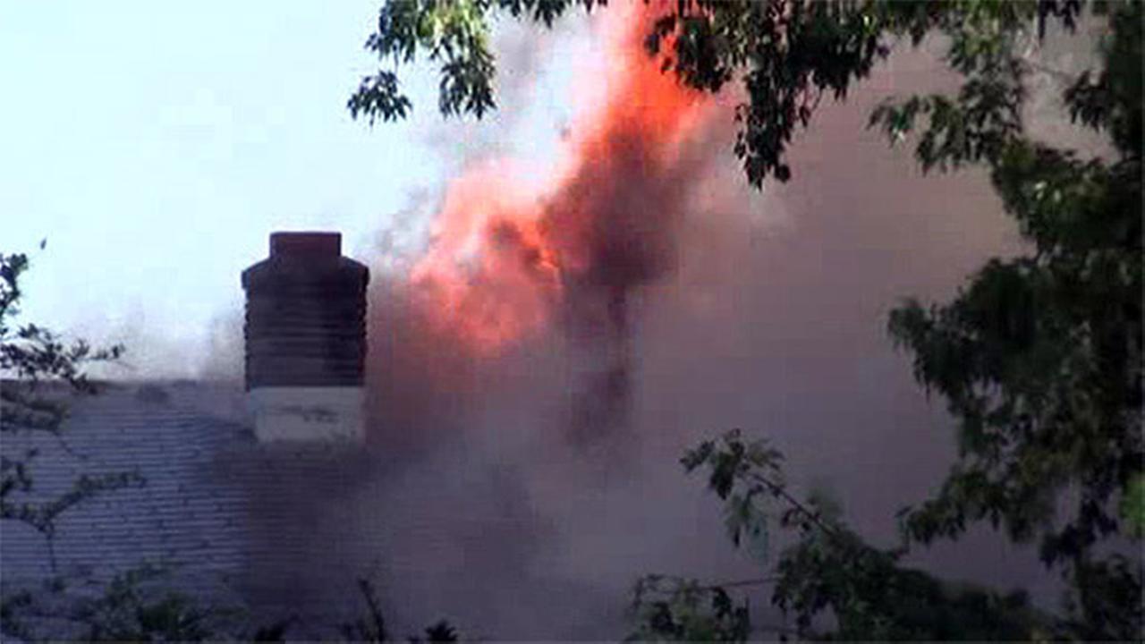 Firefighters battle blaze at home in Northfield, N.J.