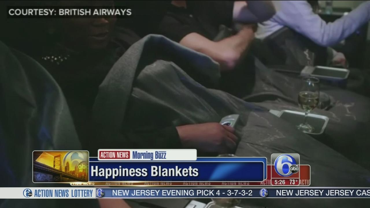 VIDEO: Fliers given happiness blankets to determine emotions