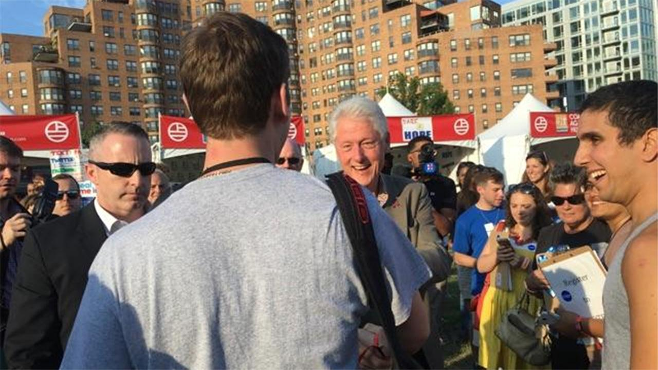 Bill Clinton made a surprise appearance at Made in America 2016 Sunday in Philadelphia.
