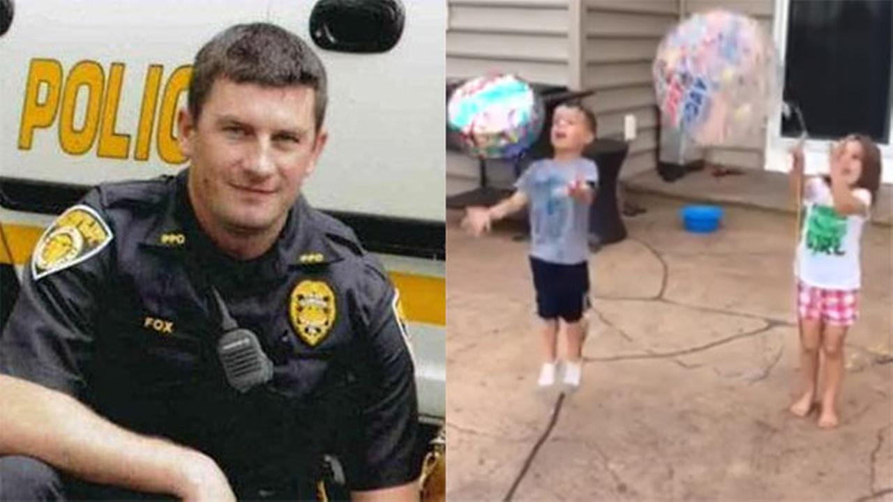 Family of Officer Brad Fox releases balloons for his birthday