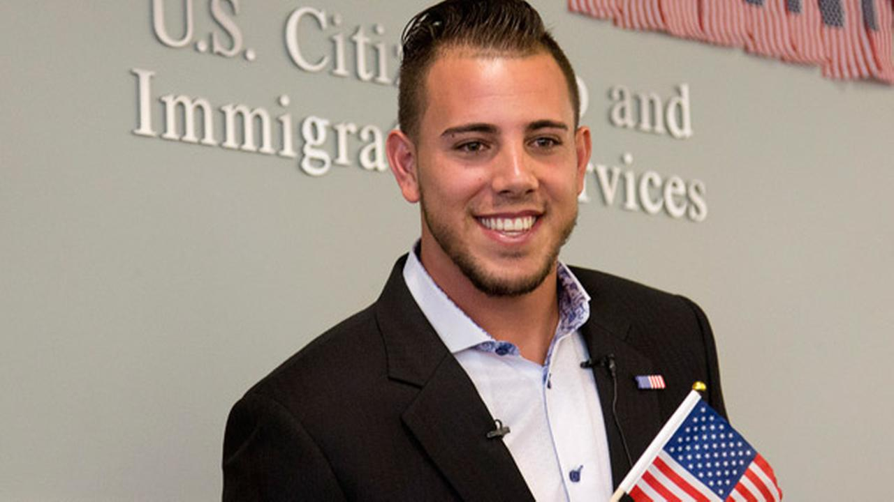 FILE - In this Friday, April 24, 2015, file photo, Miami Marlins pitcher Jose Fernandez smiles after becoming a U.S. citizen during a naturalization ceremony in Miami.