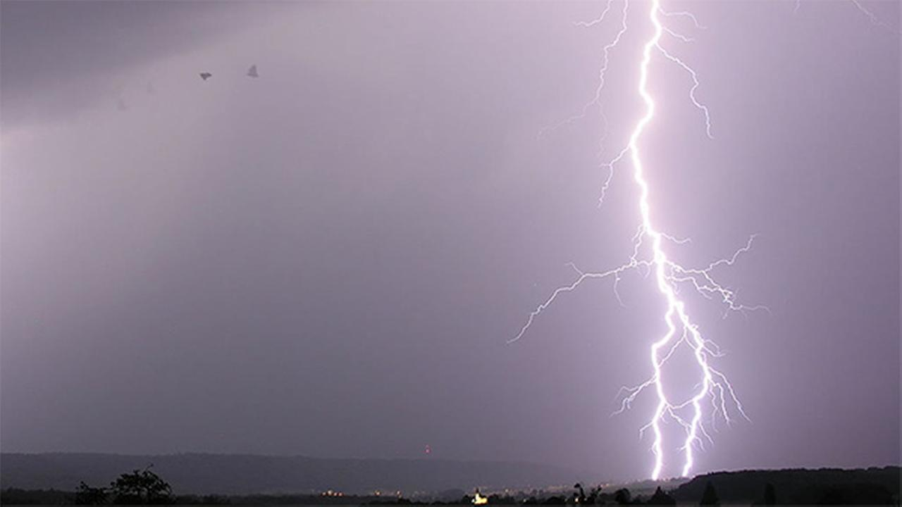 A file photo of lightning is shown.