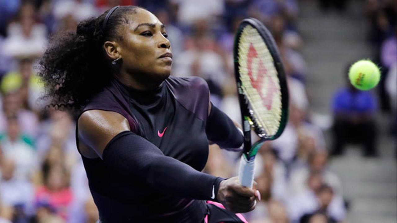 Serena Williams returns a shot to Karolina Pliskova, of the Czech Republic, during the semifinals of the U.S. Open tennis tournament, Thursday, Sept. 8, 2016, in New York.