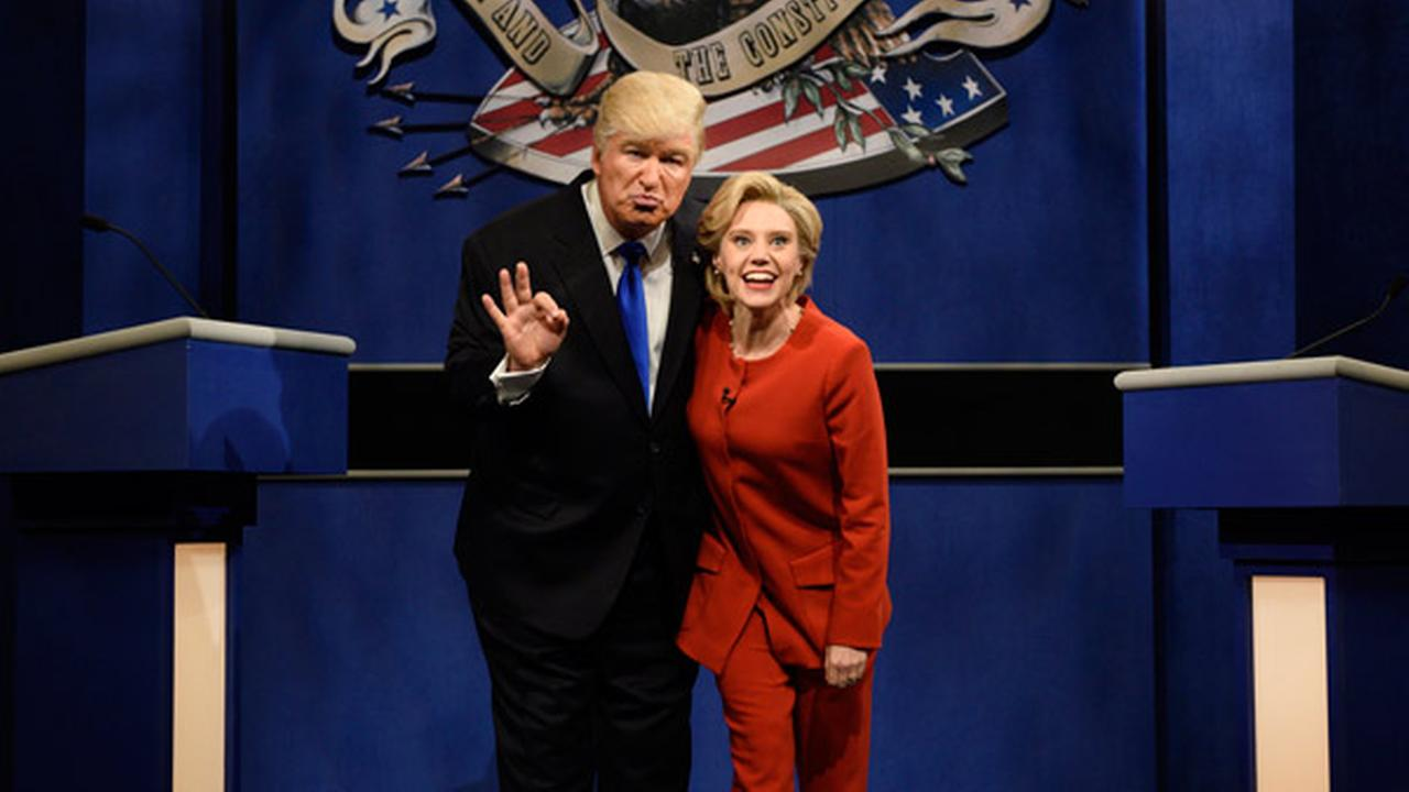 In this photo provided by NBC, Alec Baldwin, left, as Republican presidential candidate, Donald Trump, and Kate McKinnon, as Democratic presidential candidate, Hillary Clinton.