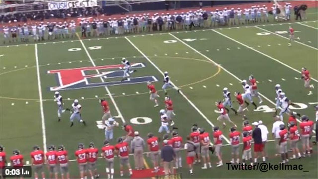 Female kicker levels opponent at high school football game