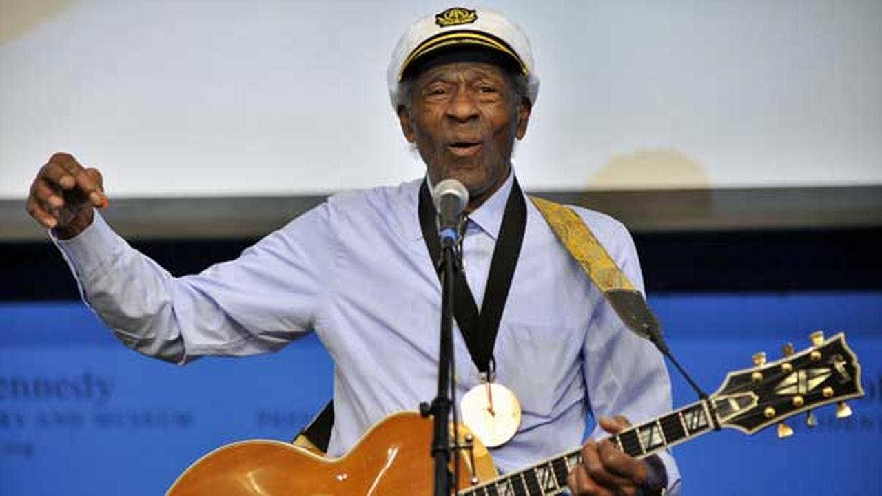 FILE - This Feb. 26, 2012 file photo, musician Chuck Berry plays Johnny B. Goode at the John F. Kennedy Presidential Library and Museum in Boston.
