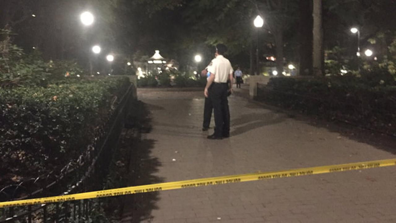 Police say a man attempting to break up a robbery in Rittenhouse Square was shot by one of the suspects.