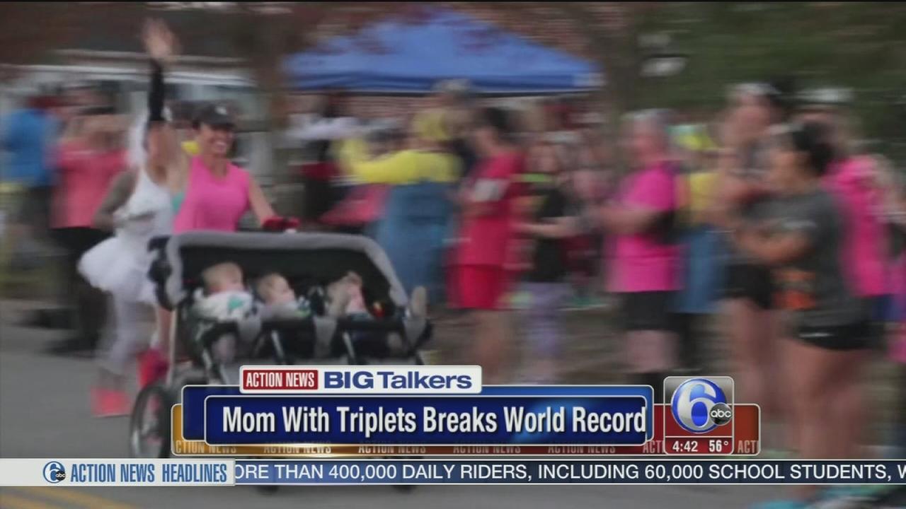 VIDEO: Mom of triplets breaks world record in half marathon in North Carolina