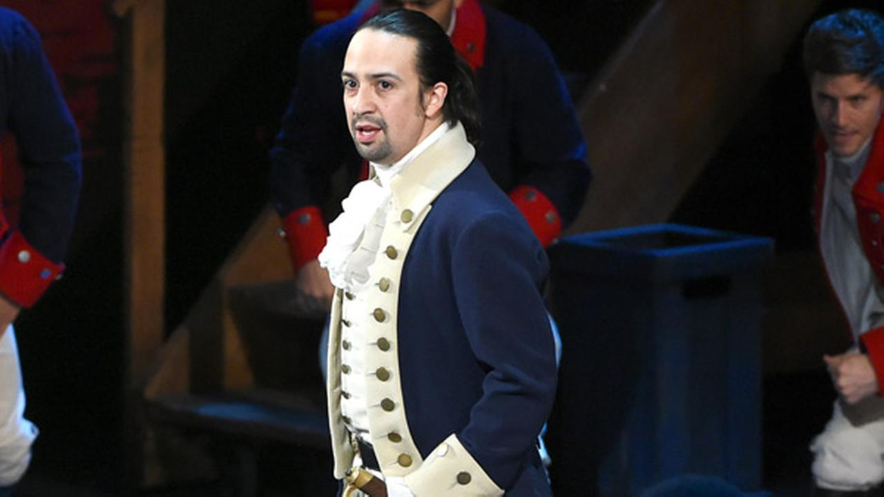 Lin Manuel Miranda and the cast of Hamilton perform at the Tony Awards at the Beacon Theatre on Sunday, June 12, 2016, in New York.