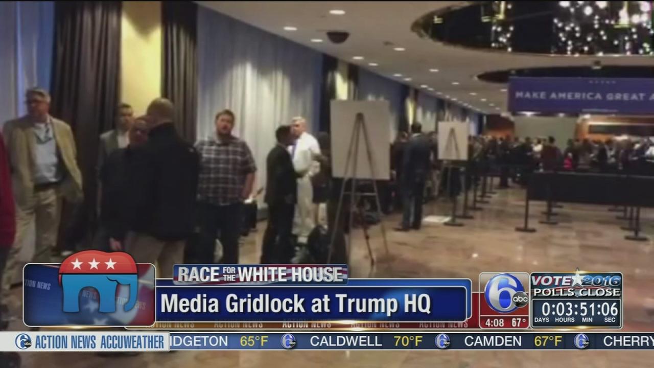 VIDEO: Media gridlock at Trump HQ