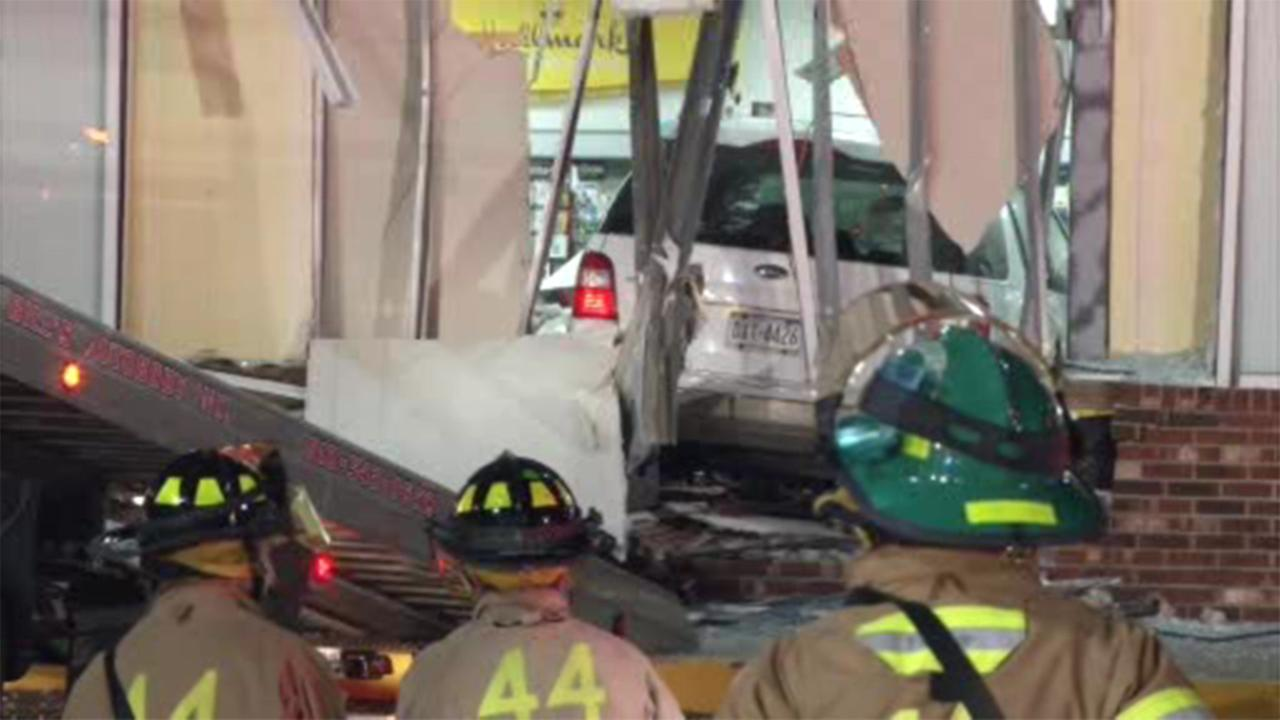 Delaware County authorities are investigating after a car crashed into a CVS Pharmacy in Swarthmore.