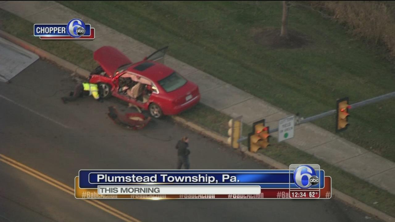 VIDEO: Car and truck collide in Bucks Co.