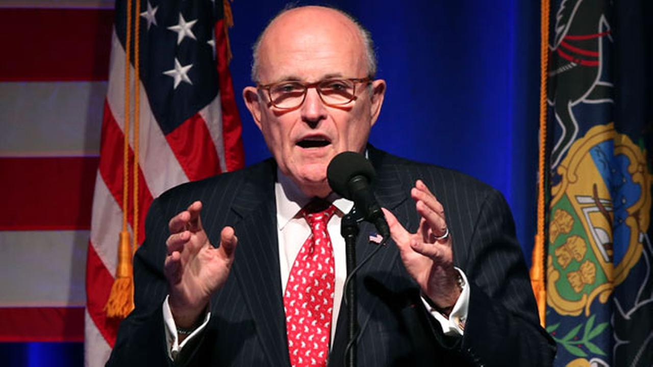 Former New York City Mayor Rudy Giuliani addresses a gathering at a campaign rally for Republican presidential candidate Donald Trump Monday, Nov. 7, 2016, in Scranton, Pa.