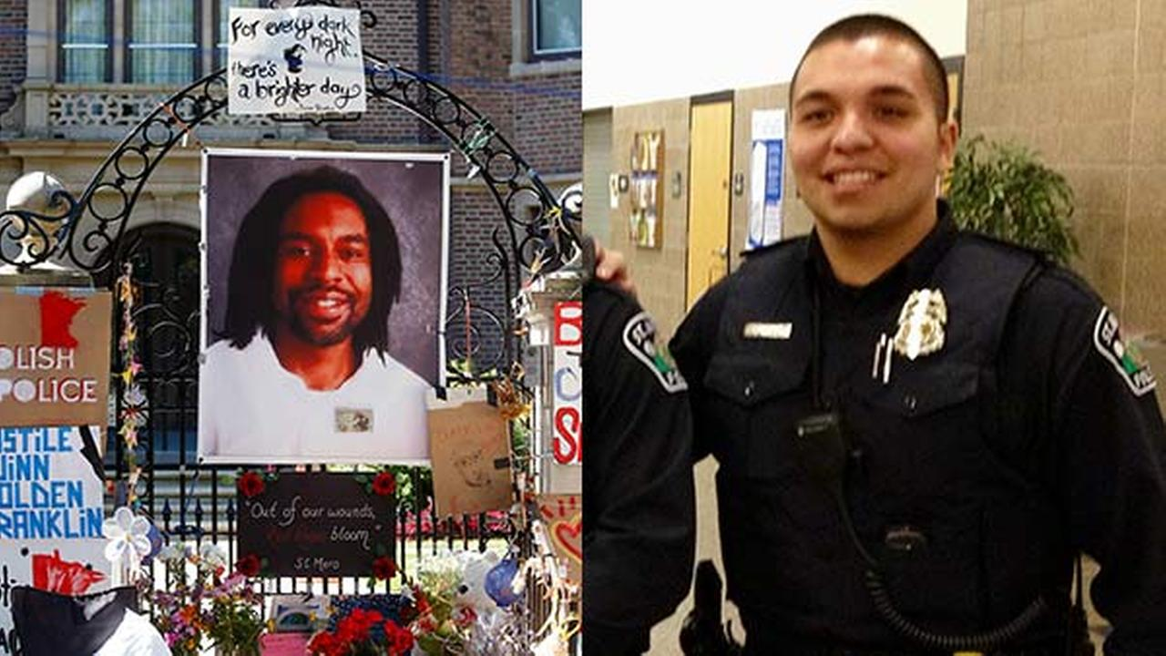 FILE: A memorial including a photo of Philando Castile adorns the gate to the governors residence. / This Jan. 8, 2013, file photo shows St. Anthony police officer Jeronimo Yanez.