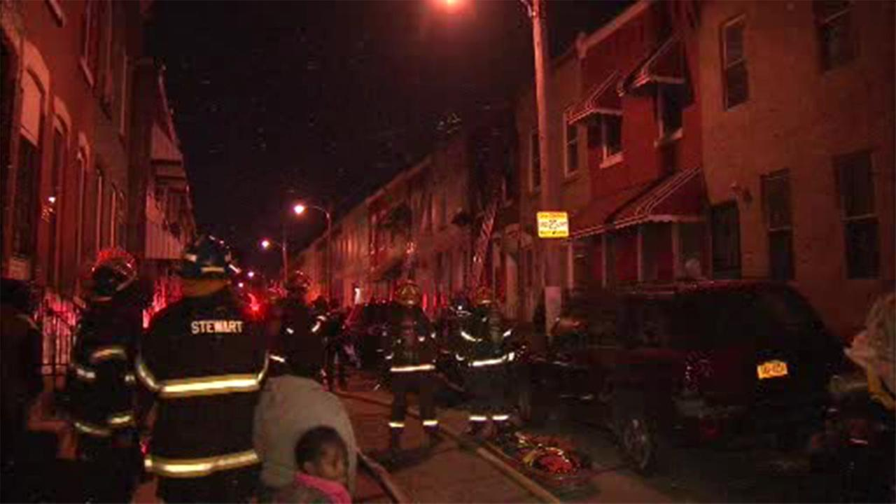 Firefighters battled a house fire in North Philadelphia.