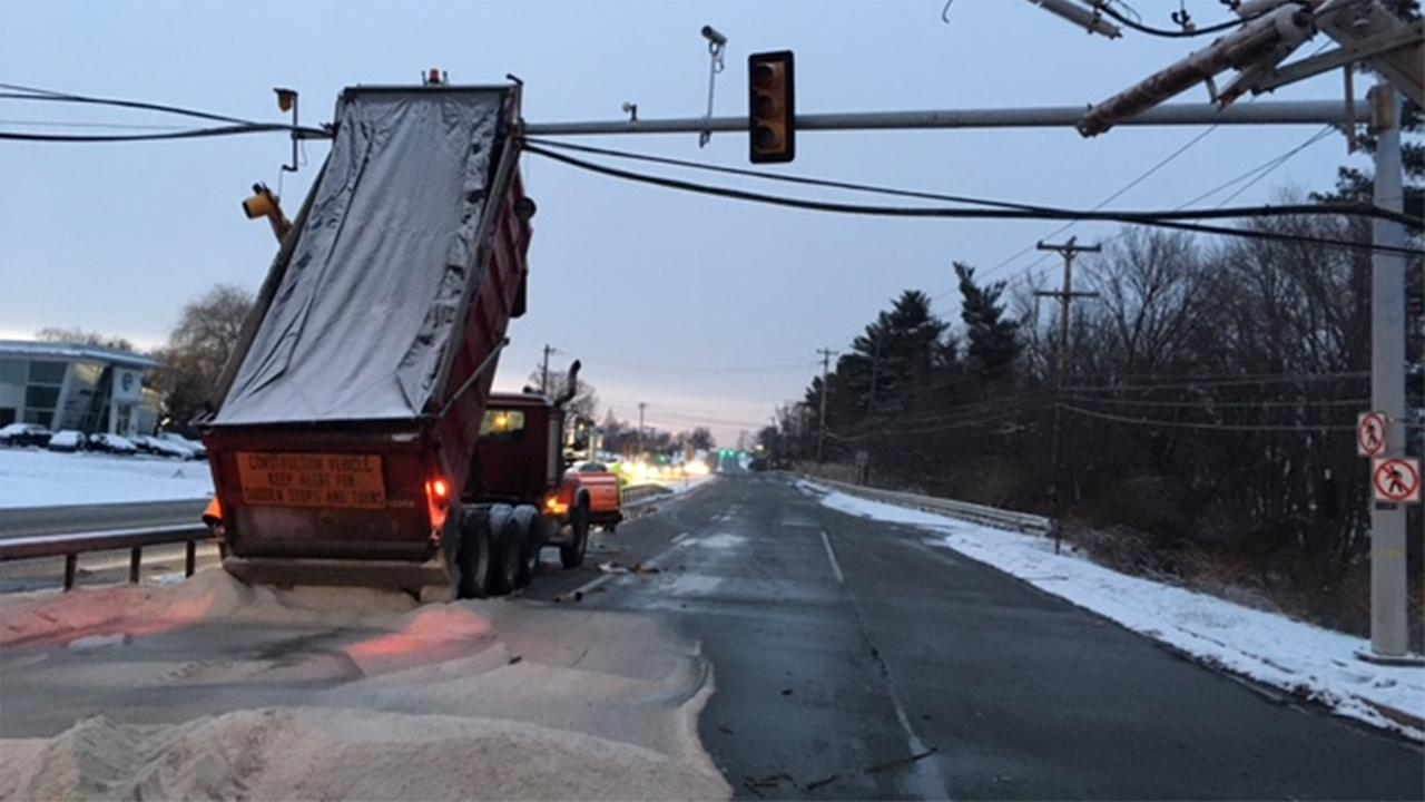Police say a snowplow driver lost control and hit a utility pole in Chadds Ford, Delaware County.