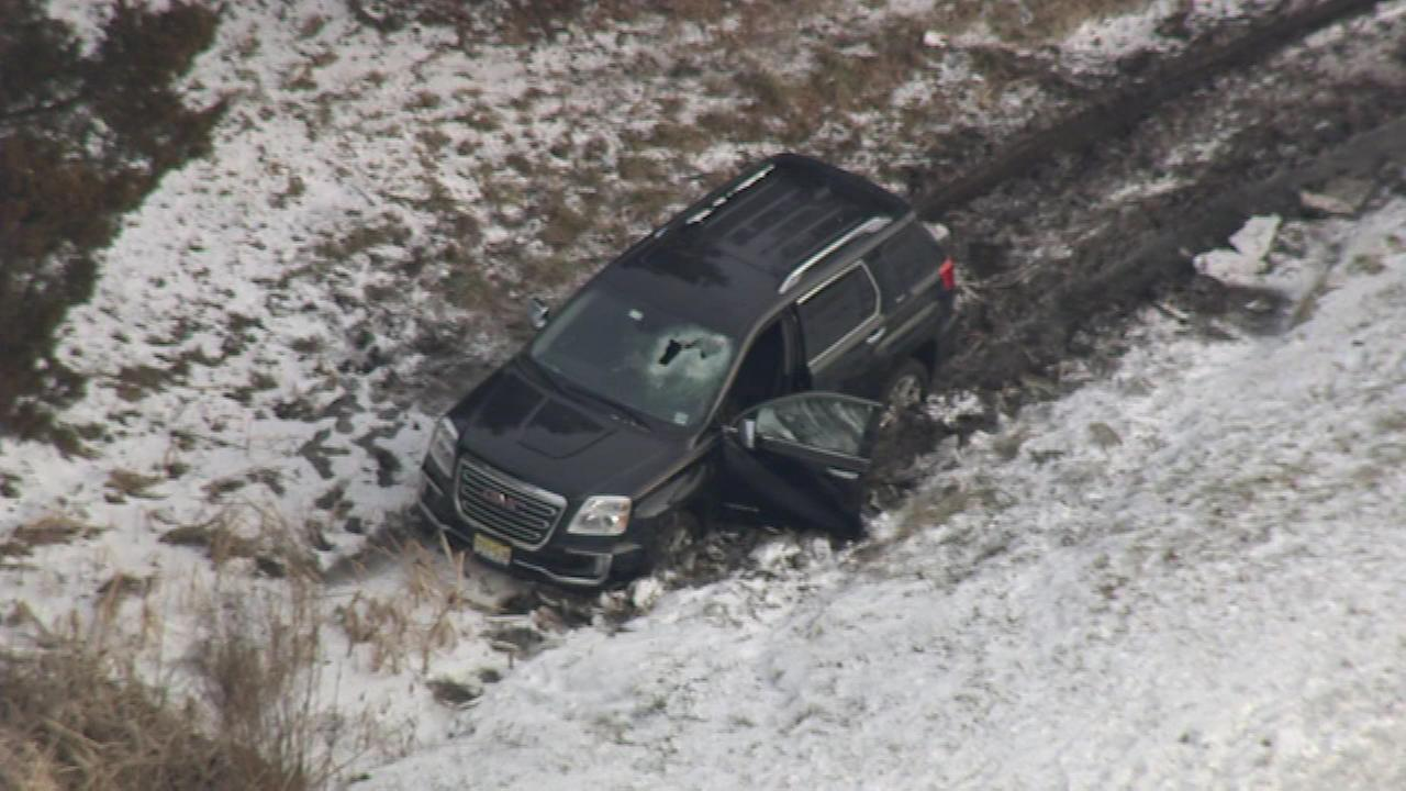Rescuers were on the scene of a crash on the NJ Turnpike on January 9, 2017.