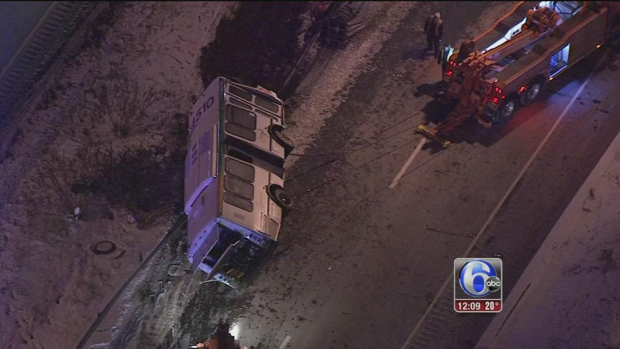 SEPTA bus crashes and overturns