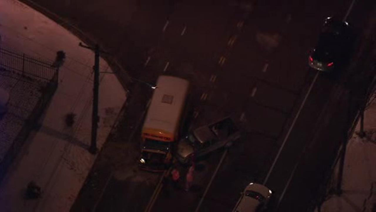 Truck driver injured in crash with school bus in Port Richmond
