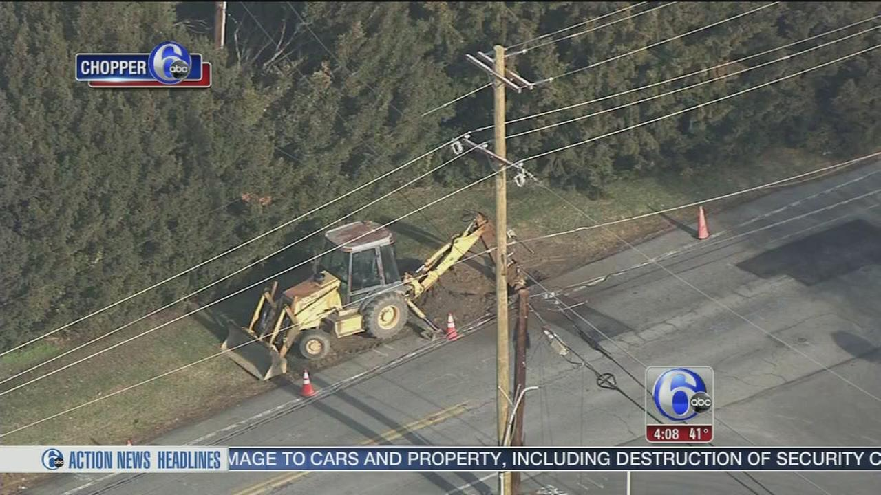 Gas leak reported after main struck in Brookhaven, Pa.