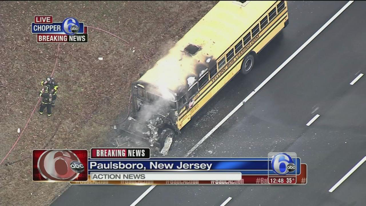 School bus catches fire along I-295 in Paulsboro
