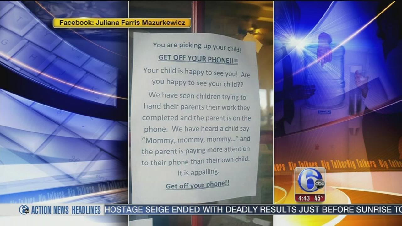 Get off your phone: Daycare touches nerves with cellphone sign