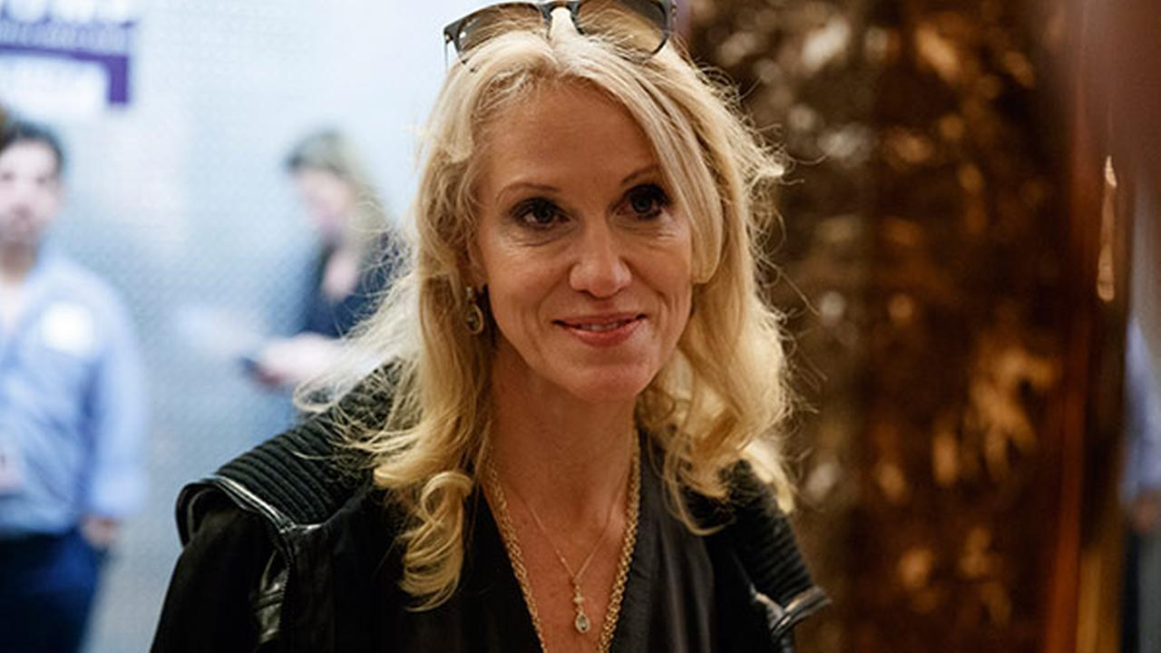 Kellyanne Conway, campaign manager and senior advisor to President-elect Donald Trump, talks with reporters as she arrives at Trump Tower, Saturday, Nov. 12, 2016, in New York.