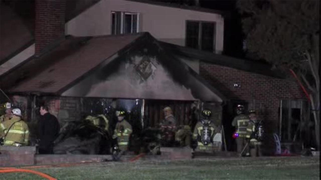 Firefighters battled a house fire Sunday in Lower Moreland Township, Montgomery County.