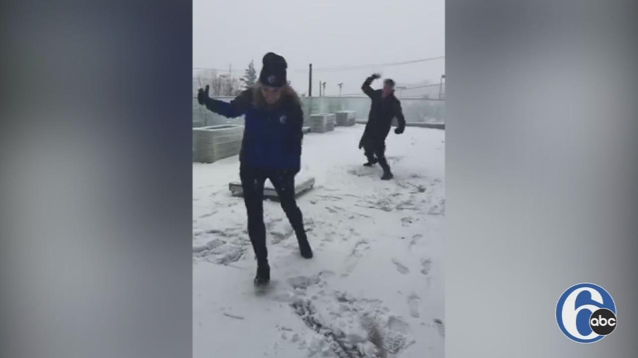 VIDEO: Karen Roger and Matt ODonnell snowball fight