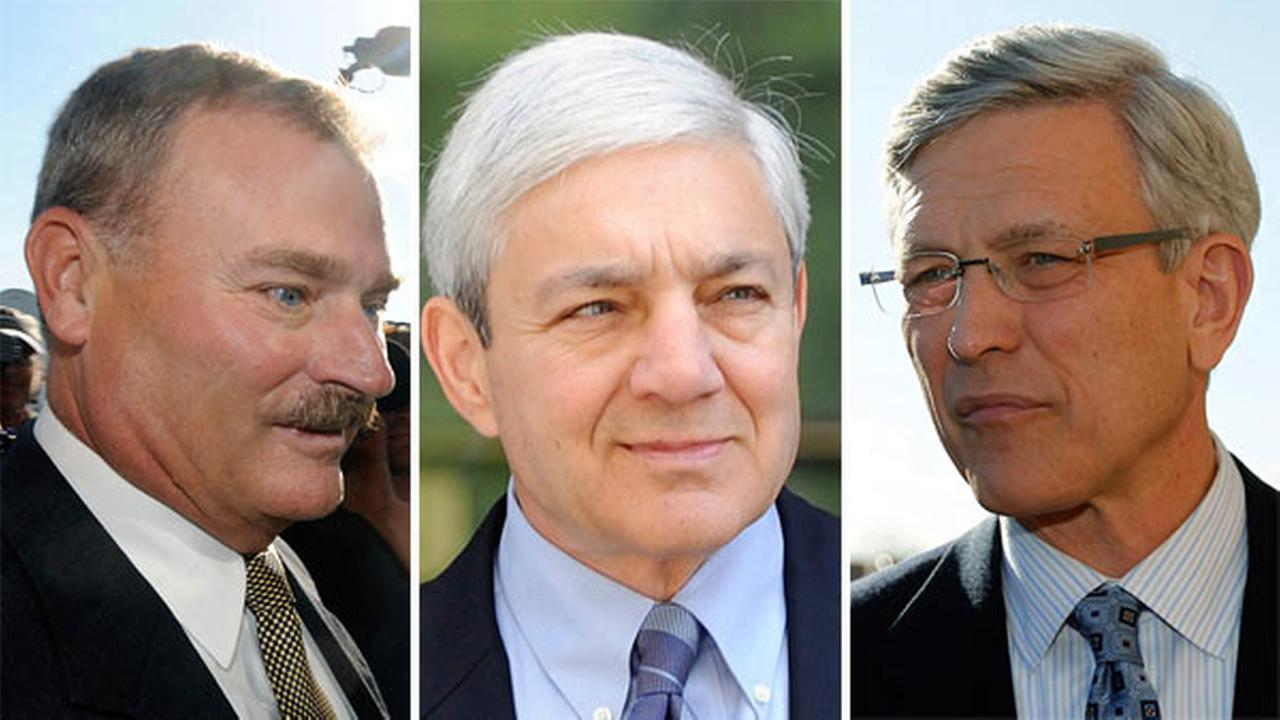 Pictured: Fmr. Penn State Vice President Gary Schultz, left, former Penn State Director of Athletics Tim Curley, right, and former Penn State president Graham Spanier, center.