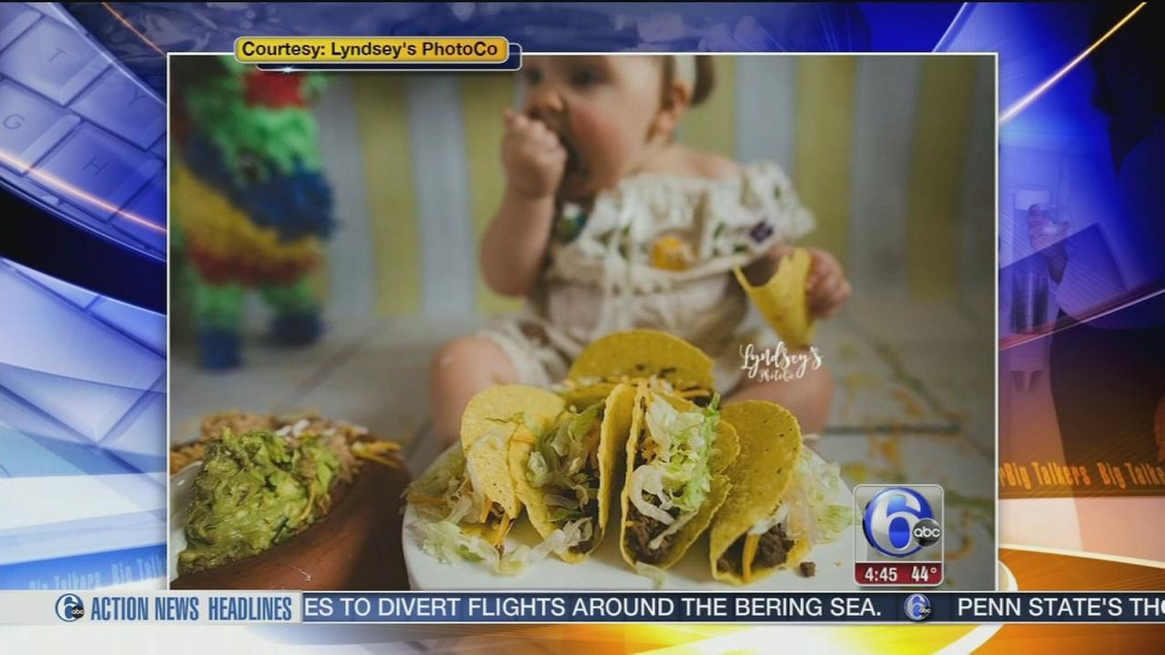 Baby celebrated first birthday with taco smash photoshoot