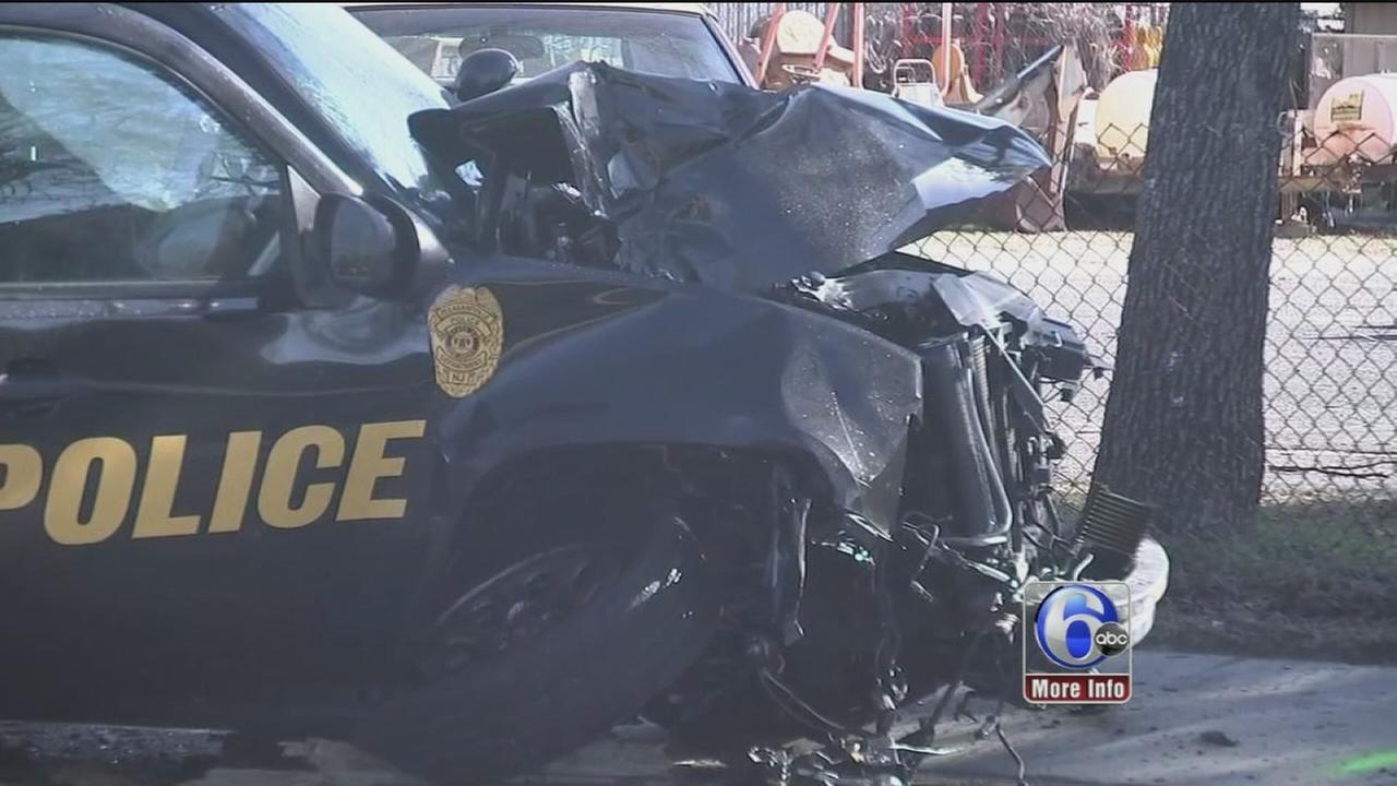 Atlantic County officer hurt in crash in Pleasantville