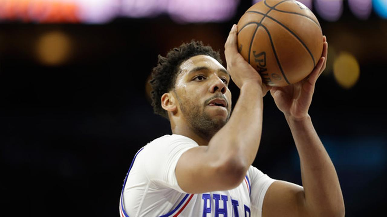 Philadelphia 76ers Jahlil Okafor in action during an NBA basketball game against the San Antonio Spurs, Wednesday, Feb. 8, 2017, in Philadelphia.