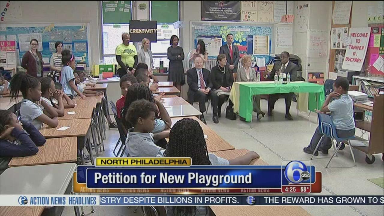 4th-graders at North Philly school petition for new playground