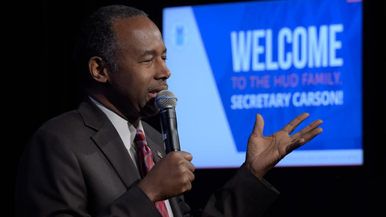 Housing a Urban Development Secretary Ben Carson speaks to HUD employees in Washington, Monday, March 6, 2017.