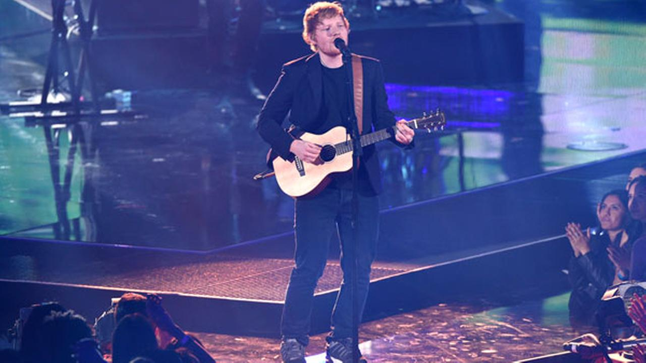 Ed Sheeran performs at the iHeartRadio Music Awards at the Forum on Sunday, March 5, 2017, in Inglewood, Calif.