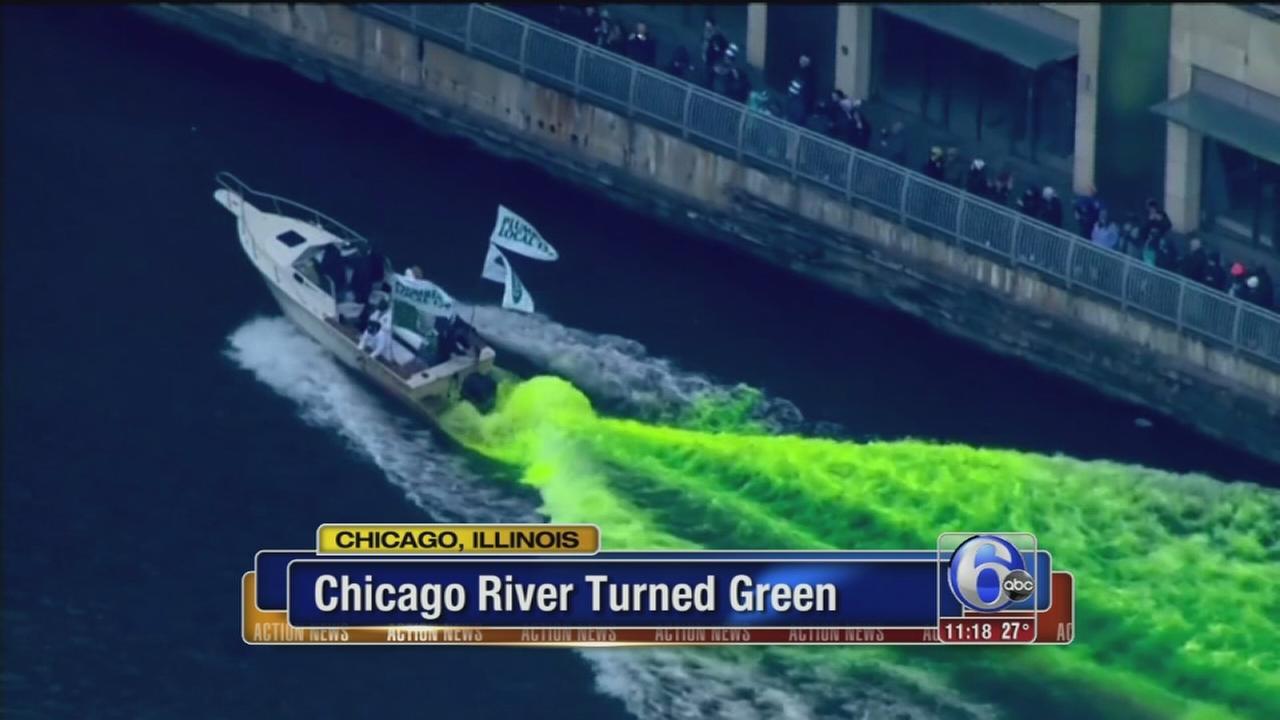 Chicago celebrates St. Patricks Day with river dyeing, parade