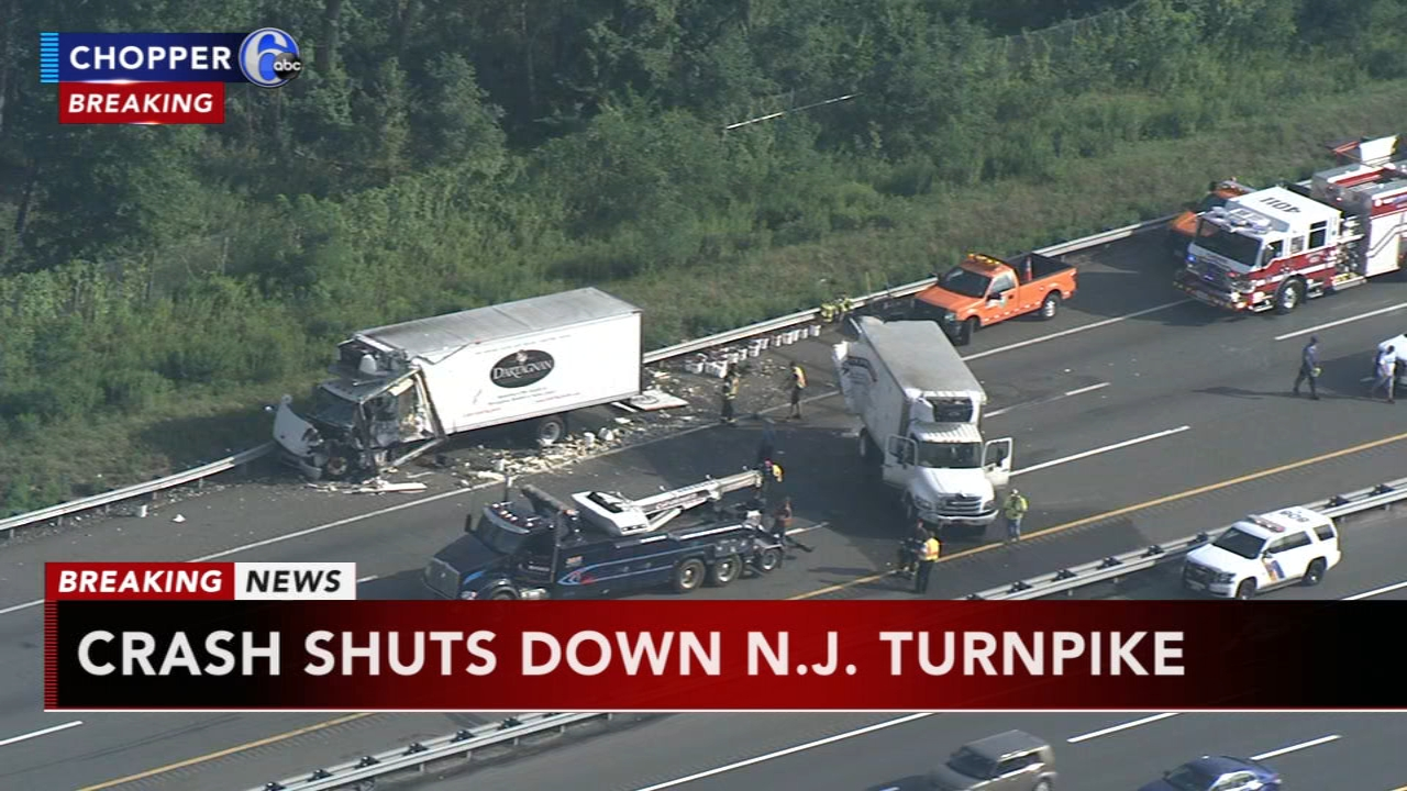 3 trucks and a vehicle crash on NJ Turnpike in Bordentown. Rick Williams reports during Action News at 5:30 p.m. on August 27, 2018