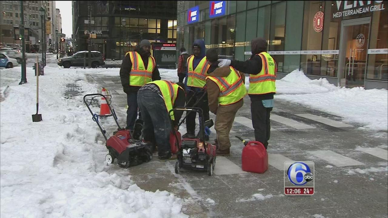 Snow cleanup continues in Philadelphia