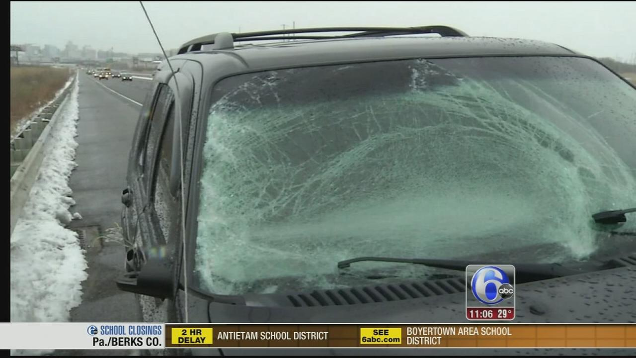 Ice from truck crashes into drivers windshield on I-95