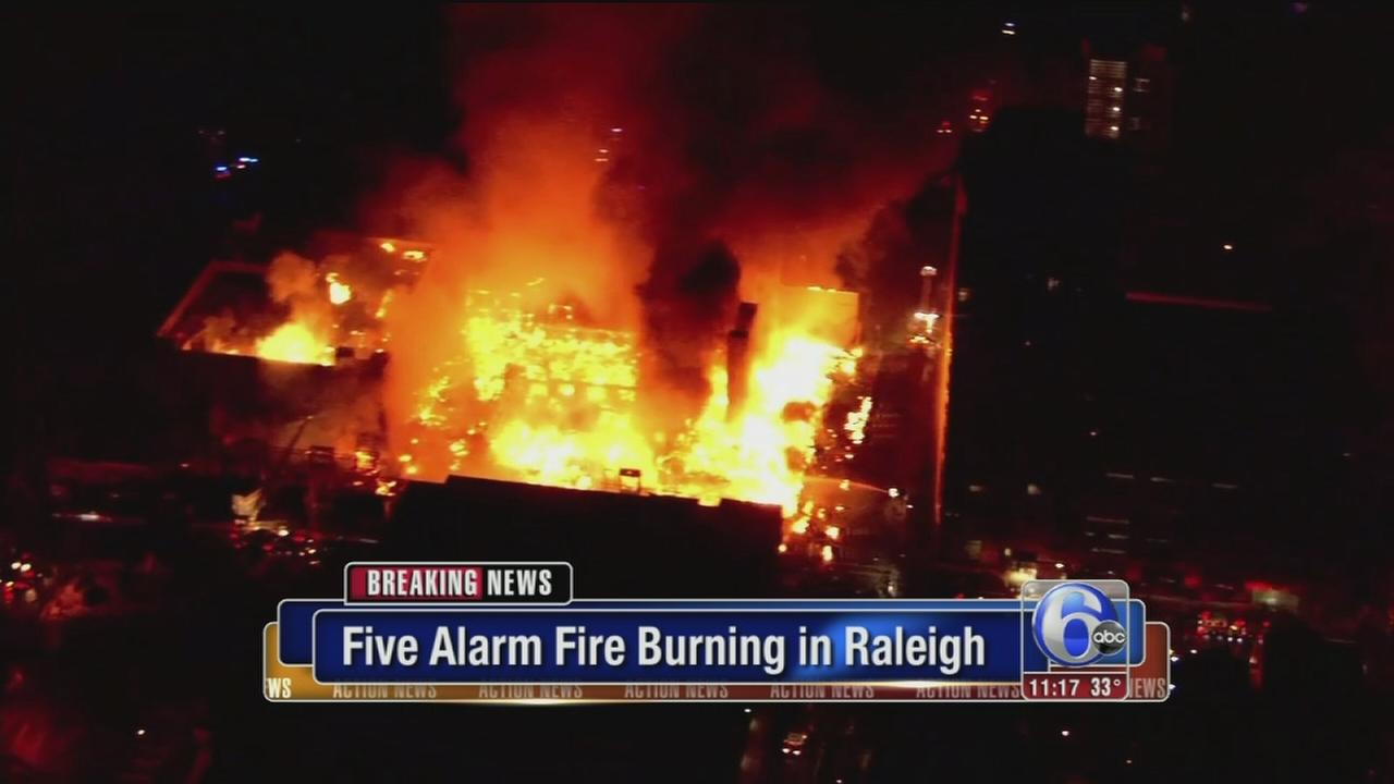 Huge five-alarm fire burns in downtown Raleigh